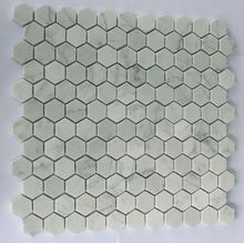 Hexagon Carrara White Marble Mosaic Tiles Honed 25*25mm