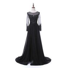 Robe De Soiree Custom Size Chiffon Sexy Backless Evening Dress Long Sleeves Sequin Women Rhinestone Prom Evening Gown 2018