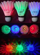 4Pcs Dark Night Colorful Glowing LED Badminton Shuttlecock Birdies Lighting Glow LED Sports Light Flash Green red blue multicolor Badminton