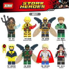 Green Lantern Reverse-Flash Power Girl Gooster Gold Super Hero Building Blocks Toys Children Gift Toys X0177