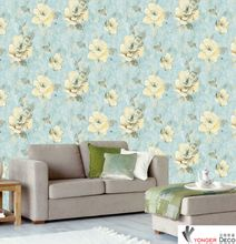 Wholesale PVC modern flower Wallpaper For Living Room Sofa Background Walls Home Wallpaper roll countryside floral wall paper roll