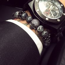 Fashion male male skull bracelet grey stone beads bangle bracelet gift crown jewels