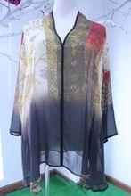 FR01 Hot Womens Fashion Elegant Faux 100% Nature Silk printing shirt