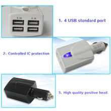 High Power and Quality 5V 6.2A Output USB Car Charger Car Cigarette Lighter Cell Phone Charging Power Adpater for Mobilephone and SamrtPhone