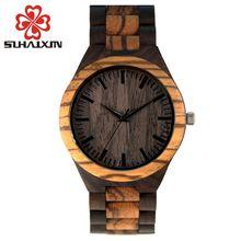 Top Brand Mens Designer Wood Wooden Watch Zabra Watches For Men Japan miyota 2035 Quartz Watch in Gift Box