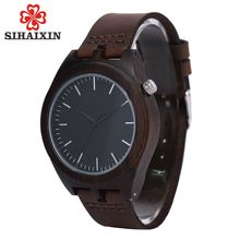 SIHAIXIN Best Watch For Men Bamboo De Wood Grain Watches With Leather Quartz Luxury Clock Male High Quality As Minimalist Gift