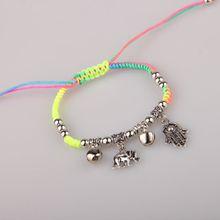 Bracelet for Unisex Multicolor Evil eye of Fatima Alloy Pendant Bracelet Korean fashion braided bracelet free shipping