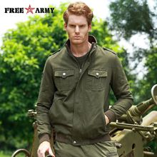 FREE ARMY 2017 New Arrival Camouflage Army Green Men's Spring Autumn Jacket Hot Selling High Quality Plus Size M-4XL Men Jackets MS-6613A/B