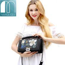 MAIDUDU Genuine leather Luxury Women Handbag Top-handle Flap Chain bag 2018 New Fashion Flower Shoulder Crossbody Lady Bag