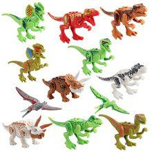 Dinosaur Minifig Building Blocks Puzzles Bricks Pterosaurs Stegosaurus Tyrannosaurus Triceratops Carnivorous intersting 12PCS A LOT