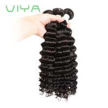 VIYA 3 Bundles Unprocessed Brazilian Virgin Deep Wave Human Hair Weaves Hair Bundles Natural Black WY831D