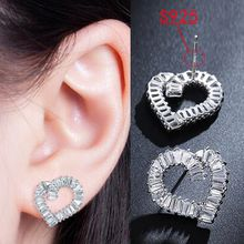 925 sterling silver needles Earrings Romantic Heart-Shaped Zircon Earrings for Women Girl Female Jewelry Wedding Gift