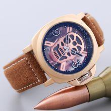 Hot Sell Pam Men's Luxury Leather Strap Skull Head Hollow Design Quartz Watch Aaa Designer Skeleton Watches
