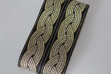 Customiz wholesale Woven Jacquard Ribbon about 4.5cm gold vintage style geometric For curtain and clothing accessory LS-0529