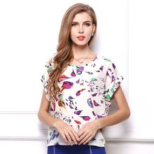 Large Size Short Sleeve T-shirt For Women Summer Chiffon Round Neck Tops & Tees Europe Ladies Street Style Polyester Print Casual Clothing