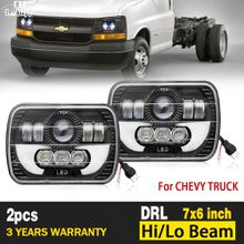 7x6 5x7 55W LED Headlight Angel Eyes lamp 15W Halo DRL Bulb 40W Low for Chevy Pickup H6014/H6054/H6052/H6056 9-32V 6000K H4