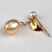 Lady Ear Studs Women Earrings 18K Yellow Gold Exquisite Classical Tulips Freshwater Pearl Ladies Grace Ear studs Fashion Campanula