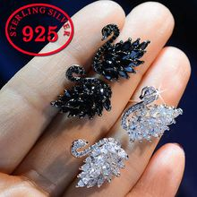 New design black and white swan Cubic Zircon earrings S925 sterling silver needle anti-allergic fashion animal earrings for women jewelry