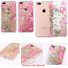 3D Quicksand Luxury Bling Glitter Liquid Floating Angle Girl Moving Hard Protective Case for Apple iphone 6 6S 7 Plus with Pattern Flowers