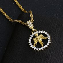 Gold Angel round pendant necklace Rhinestone Hip Hop necklace jewelry for men&women