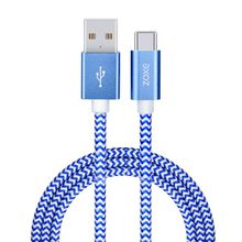 USB 2.0 To Type-C 2.0 NYLON BRAIDED aluminium alloy is for mobile phone gold blue red black white color