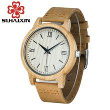 2017 Newest Wooden Bamboo Wooden Watch Case Wood Case Quartz Women's Fashion Wrist Watch Handmade With Genuine Leather Bracelet
