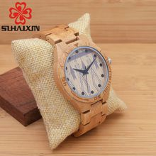 SIHAIXIN 2017 Hot Sell Wooden mens Watches Luxury Top Brand Quartz Round Band Wooden Glass Band Mens Watch
