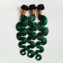 Deutschland Heiß popular Schöne Königin European Brazilian Indian remy Hair weaves 1B/green Verlaufsfarbe Zweifarbig Haare 1B/grün Echthaar