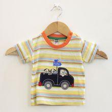 Cheap Kids Spring T-Shirts Pullover Striped Print short Sleeve Fashion Clothingt