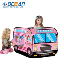 2018 Kids indoor outdoor folding soft pink house toy tent with 50pcs ocean balls