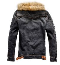 2018 Mens Denim Jacket with Fur Collar Retro Ripped Fleece hooded Jeans Jacket and Coat for Autumn Winter