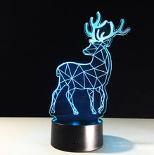 Room decoration 3D Cute Deer Shaped Night light LED 7 Colors Change Touch Desk Lamp Gift For Children