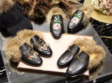 Princetown Real Hair Horse Button been Slippers Winter Indoor Slippers Real Leather Embroidery Tiger Head Outside Women's Flat Heels