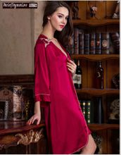 Ancietjingmanlove 2015 new wine red Two piece silk pajamas sexy Shuipao Ms. Noble 100% silkworm heavy 19 Mumi