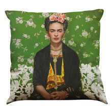 Frida Kahlo Pattern Linen Cushion Cover Home Office Sofa Square Pillow Case Decorative Cushion Covers Pillowcases Without Insert(18*18Inch)