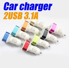 Double USB car chargers 2A High quality tetragonum ChargersTraver Adapter Car Plug For iPhone 6S Samung S7 Sony LG HTC