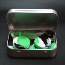 Nonstick containers silicone box, concentrate wax oil dab jar kit with holder and titanium dab rig tool