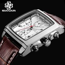 Fashion Military Quartz Watches Luxury Leather Watches Genuine Square Waterproof Watches 2028