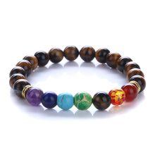 New design mens bracelet Chakra 8MM Natural Stone Bracelet Colorful Energy Yoga Buddha Bead Bracelet free shipping