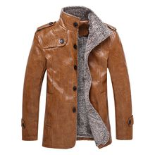 Men's Autumn Winter new style PU Leather Jacket fashion man leather coats mandarin collar suede jackets thicken outerwear leather clothing