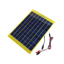 10W 18V DC Output Monocrystalline Solar Cell Panel Silicon Glass Fiber Solar Panel with Alligator Clip for Solar System