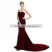 Mermaid / Trumpet Strapless Court Train Woolen Cloth Formal Evening Dress with Court Train by free shiping