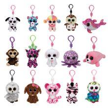 TY Keychain 4inch 10CM Stuffed Animals Plush Toy White Unicorn Ty Beanie Boos Marcel TWIGGY Pink Owl Fantasia Sammy Pippie dog Leona Leopard