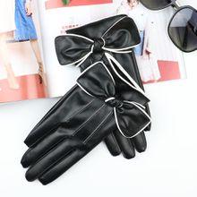 Short Gloves For Women Fashion White Border Bow PU Leather Black Gloves Female Winter Warm Velvet Touchscreen Leather Gloves