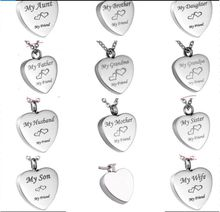 Wholesale custom heart of all kinds of address urns funeral cremation fashion jewelry pendant necklace.