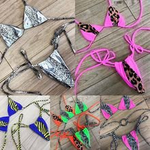Halter Micro Bikini Thong Triangle Swimsuit Female Bathing Suit Leopard Neon Biquini Push Up Sexy Swimwear Women 2019 New