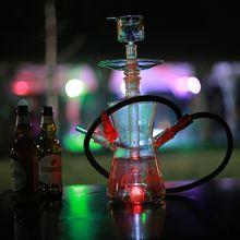 New design portable heat resistant glass hookah shisha glass nargile with colorful LED OEM ODM Hookah 588