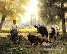 Free shipping New HANDMADE CANVAS OIL PAINTING GIRL FARM COW LANDSCAPE YP448 guaranted