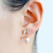 Freshwater Pearl Ear Studs Ladies Women Earrings 18K Yellow Gold butterfly Grace Ear studs Fashion Campanula Exquisite Classical