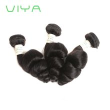 VIYA Good Hair Brazilian Virgin Hair Bundles 3pcs Unprocessed Human Hair Weaves Brazilian Loose Wave Natural Black WY831D